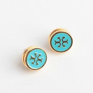 Tory Burch Lacquered Logo Blue Stud Earrings